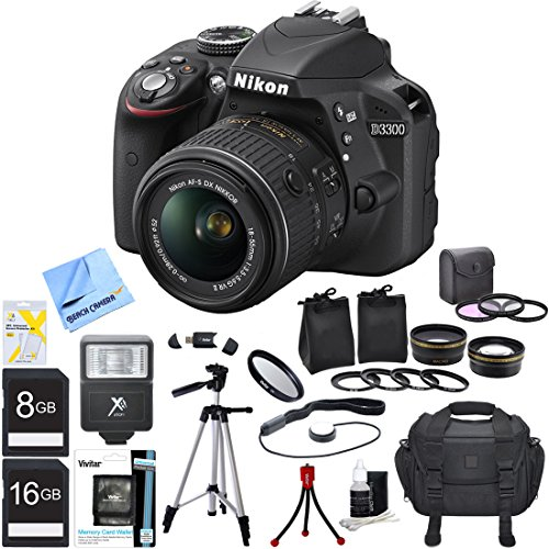 Find Bargain Nikon D3300 Black 24.2MP DSLR Camera AF-S NIKKOR 18-55mm Lens Ultimate Bundle Includes ...