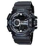 OHSEN 腕時計 多機能ミリタリースポーツウォッチ LED アナログデジタル 防水 スポーツ アラーム 腕時計 - ブラック