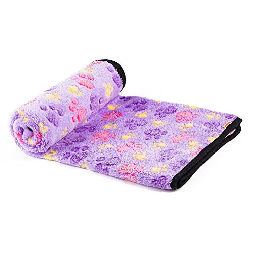 iNNEXT Puppy Blanket Pet Cushion Small Dog Cat Bed Soft Warm Sleep Mat, Pet Dog Cat Puppy Kitten Soft Blanket Doggy Warm Bed Mat Paw Print Cushion (Purple-Large Size)