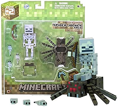 Overworld Spider Jockey Minecraft Mini Fully Articulated Action Figure Series 2 by Jazwares