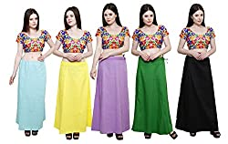 Pistaa combo of Women's Cotton Sky Blue, Lemon Yellow, Dark Rama, Pak Green and Black Color Best Indian Daily wear Solid Inskirt Saree petticoats