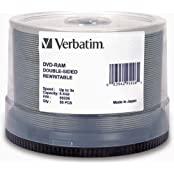 DVD-RAM 9.4GB 3x 240 Minute Double-Sided Rewritable Recordable Disc Spindle Pack Of 50 And Free 6 Feet Netcna...