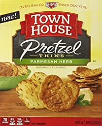 Town House Pretzel Thins Oven Baked Crackers, Parmesan Herb, 10 Ounce (Pack of 12)