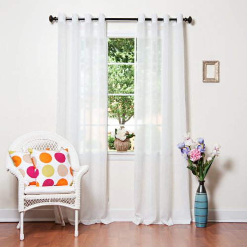 """White Crushed Voile Sheer Grommet Top Curtain 84""""L X 52`W"""