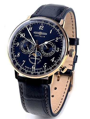 Zeppelin Series LZ129 Hindenburg Multifunction Men's Day/Date Moon Phase Analog Watch Rose Gold and Blue 7038-3