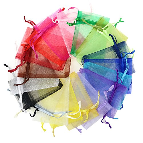 Kaimao 100 Pieces Organza Gift Bags Wedding Party Favor Bags Jewelry Pouches Candy Chocorate Pouch Wrap, 9 x 12 CM(Color mixing)