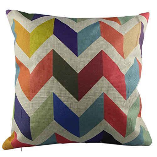 Beety P51 Cotton Linen Throw Pillow Case Decorative Cushion Cover Pillowcase Colorful Zig Zag ...