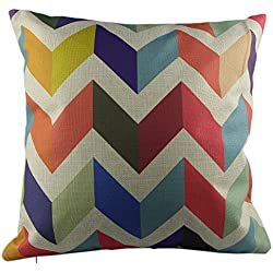 GYBest P51 Cotton Linen Throw Pillow Case Decorative Cushion Cover Pillowcase Colorful Zig Zag Chevron Fade Zigzag Stripes Wave Square