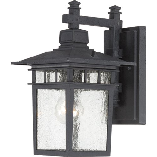 Nuvo Lighting 60/4953 Cove Neck One Light Wall Lantern/Arm Down 100 Watt A19 Max. Clear Seeded Glass Textured Black Outdoor Fixture (Mission Outdoor Wall Light compare prices)