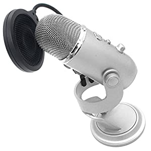 "ZRAMO® 4"" Inch Small Pop Filter Studio Microphone Mic Wind Screen Pop Filter Swivel Mount 360 Flexible Gooseneck Holder for Blue Yeti Mic"