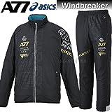 asics アシックス A77 裏起毛 ウィンドブレーカー ジャケット パンツ 上下セット XAW720 XAW820 9090 ブラック×ブラック (M)