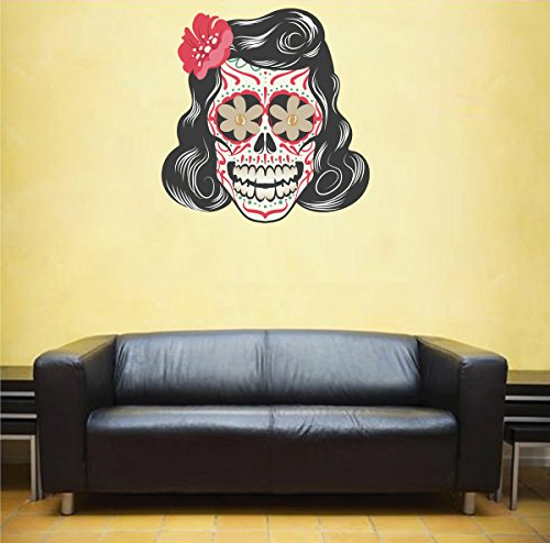cik97-full-color-wall-decal-skull-female-hair-colors-living-room-bedroom