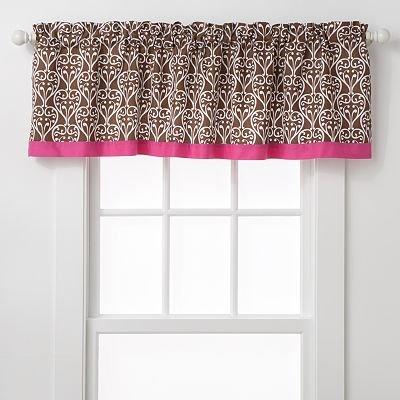 Bacati Damask Pink and Chocolate Window Valance - 1