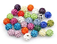 Yuan mutang 10mm 100pcs/Lot Mixed Color Clay Pave Disco Rhinestone Crystal Shamballa Beads