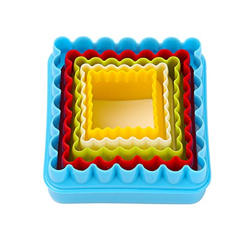 Cookie Cutters, MCIRCO Two-sided Square Cookie Cutter Set Multi-size Plastic Cookie Cutters Shapes for Kids Multi-color Sandwich Biscuit Cutter with Plastic Storage Box(Square) (Sandwich Cutter Square compare prices)