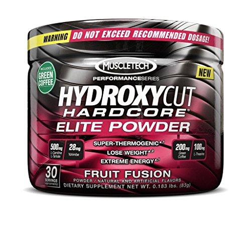 Hydroxycut Hardcore Elite par MuscleTech - perte de poids thermogénique puissant (30 portions) de poudre (Fusion de fruits)
