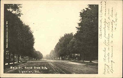 Main Street North from 6th in Ligonier, Indiana. Vintage Postcard.