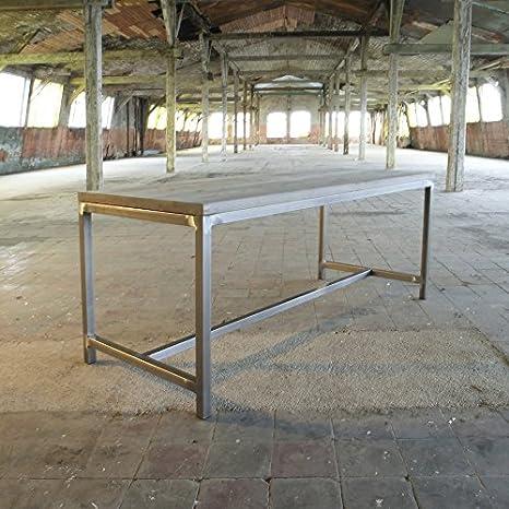 Table à manger design élégant en acier industriel, Anna (Grey)-Silver (mild steel), 6 seater W150xD75xH75cm