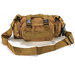 Utility Tactical Waist Pack Pouch Military Camping Hiking Outdoor Hand Waist Bag (Tan)