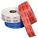 The Coin-Tainer Co. Double Assorted Raffle Ticket Rolls, 2000 Count, 1 Roll, Colors May Vary (60670-63765)