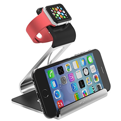 Apple Watch Stand – Poetic Smartphone [Apple/Android] / Apple Watch Dual Stand [Loft] – [Aluminum] [Versatile][Elegant] Aluminum Made Stand with TPU Dock [Charging Cable & Watch Case & Watch NOT INCLUDED] for Smartphone[Apple/Android] / Apple Watch Silver (3-Year Manufacturer Warranty From Poetic)