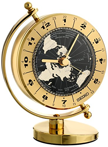 Seiko Desk and Table World Time Clock Solid Brass Case