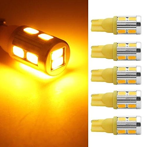 Partsam 5 Amber 10-5730-SMD super bright 168 2825 W5W 194 LED bulbs for Cab Roof Running Marker Light (Led Amber Cab Lights compare prices)
