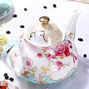 AWHOME Bone China Teapot Vintage Royal Style Red Floral -4 Cup