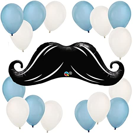 "Make a statement at your next party with the Mustache Little Man Balloon Kit! This kit contains a 42"" mustache shaped mylar balloon and a 16 pack of 11"" blue and white latex balloons. Balloons are a perfect and inexpensive way to add color and fun to..."