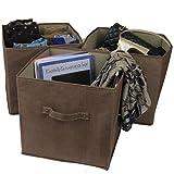 Paylak SCR370BR Closet Organizer Storage Fabric Box Set of 3 Brown with Handle