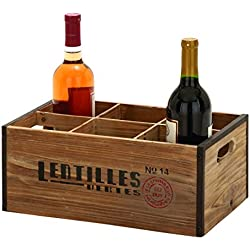 Deco 79 Unique Home Accents Wood Wine Holder, 14 by 6-Inch