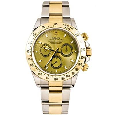 Rolex 40mm Stainless Steel & 18K Gold Daytona Model 116523 Champagne Stick Dial Inner Bezel Engraving Model