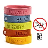 BuzzOff Mosquito Repellent Bracelet - Pack of 5 + 2 Patches - Works Everytime - MoneyBack Guarantee - Deet Free - Prevent ZIKA virus - Insect Repellent