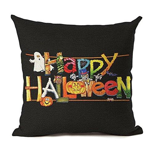 Monkeysell Happy Halloween Pumpkin Home Decor, Orange Pumpkin Old Castle House Cat Pillowcase 18 x 18 Inches (S128A5)