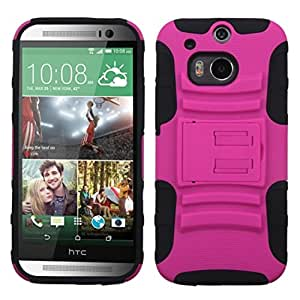 MyBat Advanced Armor Stand Protector Cover for HTC One M8 - Retail Packaging - Pink/Black