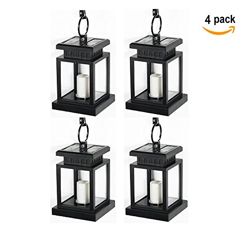 [Pack of 4] Lvjing Vintage Waterproof Solar Powered Hanging Umbrella Lantern Portable Led Candle Lights with Clamp for Beach Umbrella Tree Pavilion Garden Yard Lawn Camping etc. Lighting & Decoration (Black)