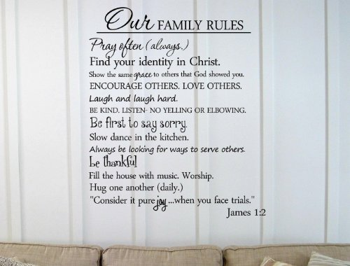 Marvelous Our family rules Pray often always Find your identity in Christ Show