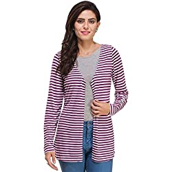 Rigo Purple and White Striped Shrug