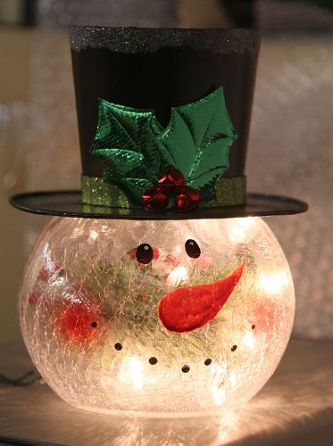 Lighted Crackle Glass Snowman - 8 Inch Electric (Electric Snowman compare prices)
