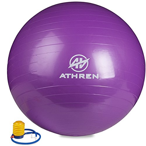 Exercise Ball with Foot Pump (GYM QUALITY FITNESS BALL) - 2000lbs Anti-burst - Also Known as: Fitness Ball - Yoga Ball - Swiss Ball - Multiple Colors and Sizes - (Purple, 65cm)