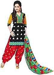 Its Fashionation Women's Cotton Dress Material (DM-LADO-23, Black, White, Red and Green)
