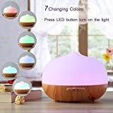 300ml Aroma Essential Oil Diffuser, URPOWER Frosted Glass Exterior Ultrasonic Cool Mist Humidifier-4 Timer Settings Auto Shut off Aroma Diffuser with 7 Color Lights for Home Baby Room Yoga