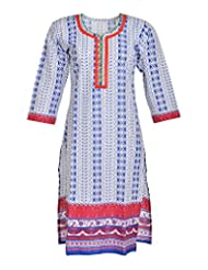 Global Women's Cotton Straight Kurta (GW64Whitep40015, Multi, 40)