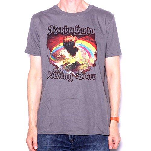 Rainbow T Shirt-Rising Tour 1976Replica ufficiale 100% Ritchie Blackmore con stampa sul retro grigio XXL