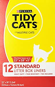 Tidy Cats Cat Litter, Cat box Liners (15x18x5), 12-Count box, Pack of 6