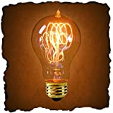 60 Watt - Vintage Antique Light Bulb - Victorian Style - 4 Loop Hand-Wound Tungsten Filament - Multiple Supports - Clear