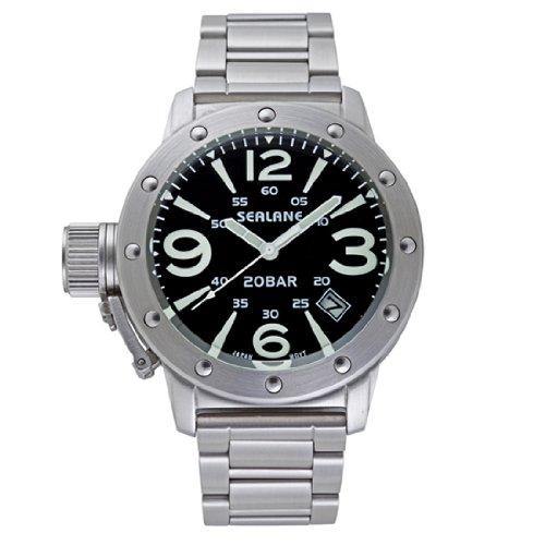 [シーレーン]SEALANE 腕時計 20BAR メンズ デザインウォッチ メタル N夜光 SE32-MBK メンズ