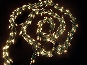 Vickerman 300 Lights Clear 9-Feet Garland End Connecting Set with Green Wire