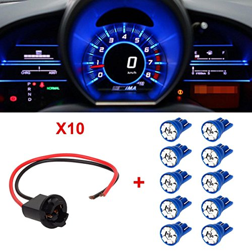 Partsam 10xT10 194 Blue 6-LED Instrument Bulb Socket Extension Connector Wire Harness (Toyota Corolla 2003 Odometer compare prices)