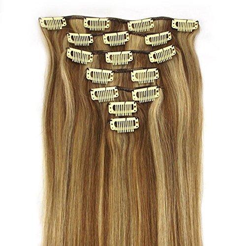 RemyHair Remy Echthaar Haarverlaengerung Clip-In-Extensions 38CM 16clips 70g#12613 mischen